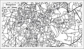 Carte de ville d'Inde de Bangalore dans le rétro style Illustration noire et blanche de vecteur illustration libre de droits