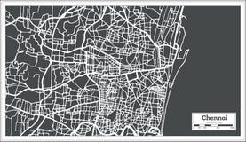 Carte de ville d'Inde de Chennai dans le rétro style Illustration noire et blanche de vecteur illustration stock