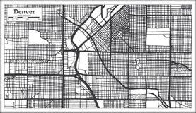 Carte de ville de Denver Etats-Unis dans le rétro style Illustration noire et blanche de vecteur illustration libre de droits