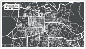 Carte de ville de Pekanbaru Indonésie dans le rétro style Illustration noire et blanche de vecteur illustration de vecteur