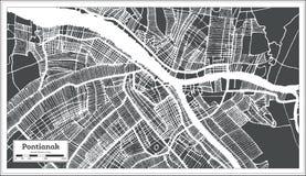 Carte de ville de Pontianak Indonésie dans le rétro style Illustration noire et blanche de vecteur illustration libre de droits