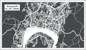Carte de ville de Samarinda Indonésie dans le rétro style Illustration noire et blanche de vecteur illustration stock