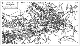 Carte de ville de Sarajevo Bosnie-Herzégovine dans le rétro style contour illustration libre de droits