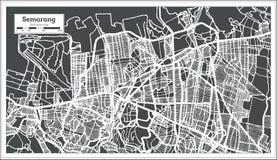 Carte de ville de Semarang Indonésie dans le rétro style Illustration noire et blanche de vecteur illustration libre de droits