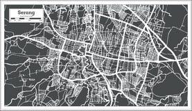 Carte de ville de Serang Indonésie dans le rétro style Illustration noire et blanche de vecteur illustration de vecteur