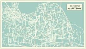 Carte de ville de Sorabaya Indonésie dans le rétro style Illustration noire et blanche de vecteur illustration stock