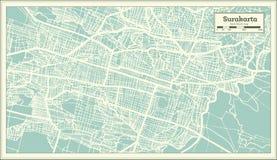 Carte de ville de Surakarta Indonésie dans le rétro style Illustration noire et blanche de vecteur illustration stock