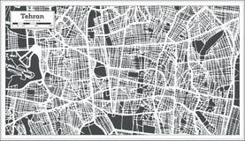 Carte de ville de Téhéran Iran dans le rétro style Illustration noire et blanche de vecteur illustration libre de droits