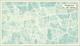 Carte de ville de Tangerang Indonésie dans le rétro style Illustration noire et blanche de vecteur illustration libre de droits
