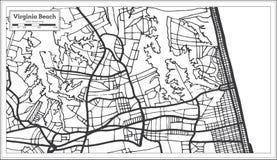 Carte de ville de Virginia Beach Etats-Unis dans le rétro style Illustration noire et blanche de vecteur Photographie stock