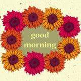 Carte de vintage avec des couleurs jaunes et oranges de rose de gerbera de fleurs Photo stock