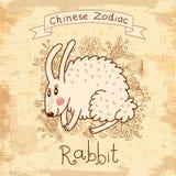 Carte de vintage avec le zodiaque chinois - ?Rabbit illustration de vecteur