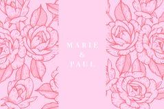 Carte de vintage avec Rose Flowers Guirlande florale Cadre de fleur pour épouser l'invitation Carte de voeux rose florale d'été Illustration de Vecteur