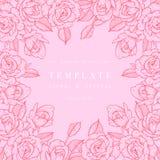 Carte de vintage avec Rose Flowers Guirlande florale Cadre de fleur pour épouser l'invitation Carte de voeux rose florale d'été Illustration Stock