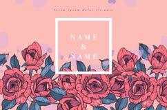 Carte de vintage avec Rose Flowers Guirlande florale Cadre de fleur pour épouser l'invitation Carte de voeux rose florale d'été Illustration Libre de Droits