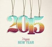 Carte de vintage d'étiquette de coup de la bonne année 2015