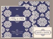 Carte de vintage d'invitation de mariage avec les éléments décoratifs floraux et antiques Photos libres de droits