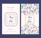 Carte de vintage d'invitation de mariage avec les éléments décoratifs floraux et antiques Photo libre de droits