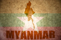 Carte de vintage de Myanmar Images libres de droits