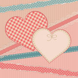 Carte de vintage de salutations avec la forme de coeur Images stock
