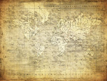Carte de vintage du monde 1847 Images libres de droits