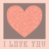Carte de vintage pour la Saint-Valentin avec des coeurs. Images stock