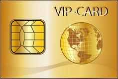 Carte de VIP avec un globe d'or Photographie stock libre de droits