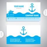 Carte de visite professionnelle de visite - ancre nautique - équipement marin illustration de vecteur