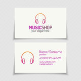 Carte de visite professionnelle de visite avec le logo de boutique de musique avec les écouteurs c moderne plat illustration de vecteur