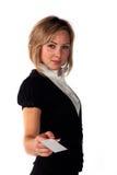 Carte de visite professionnelle de visite d'apparence de femme Photos stock