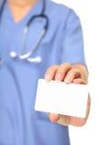 Carte de visite professionnelle de visite d'infirmière Photographie stock