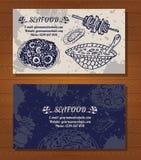 Carte de visite professionnelle de visite de fruits de mer des délicatesses Poissons, poulpe illustration de vecteur