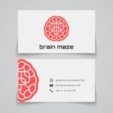 Carte de visite professionnelle de visite Logo de concept de labyrinthe de cerveau Photos stock