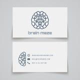 Carte de visite professionnelle de visite Logo de labyrinthe de cerveau Images stock