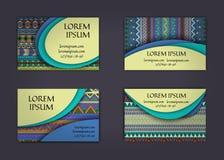 carte de visite professionnelle de visite ou calibre de carte de visite avec le fond de modèle de style de boho Conception d'iden Image libre de droits