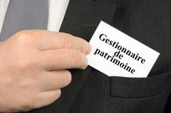Carte de visite professionnelle de visite de directeur de richesse écrite en français illustration libre de droits