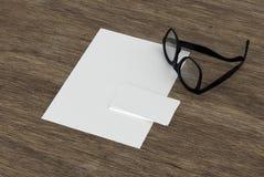 Carte de visite professionnelle, papier et lunettes vides de visite illustration de vecteur