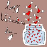 Carte de voeux à main levée de vecteur de griffonnage Valentine Day Lettering heureux Pot en verre de correction d'ailes de coeur Photographie stock libre de droits