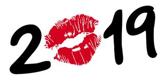 Carte de voeux 2019 écrite dans le noir, avec les lèvres rouges formant le zéro illustration stock