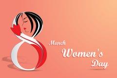 Carte de voeux élégante pour le jour international du ` s de femmes Photos stock
