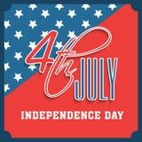 Carte de voeux américaine de célébration de Jour de la Déclaration d'Indépendance Photo stock