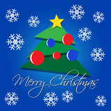 Carte de voeux - arbre vert de Noël avec des flocons de neige Photographie stock libre de droits