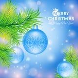 Carte de voeux avec des boules de Noël Photographie stock libre de droits
