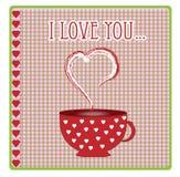 Carte de voeux avec des coeurs et le vecteur d'amour Photos stock