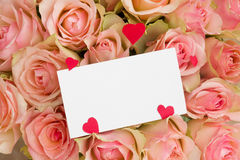 Carte de voeux avec des coeurs sur des roses Photographie stock libre de droits