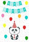 Carte de voeux avec des confettis, des drapeaux et des baloons Illustration de vecteur Annonce d'arrivée de bébé garçon, carte de illustration stock