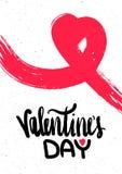 Carte de voeux avec des félicitations le jour A4 de valentines de St Vecteur Photos stock