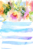 Carte de voeux avec des fleurs Photo stock