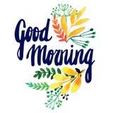 Carte de voeux avec des fleurs watercolor Peinture de main inscription Scène démodée de matin : machine à écrire antique, cuvette Photos stock