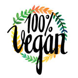 Carte de voeux avec des fleurs watercolor Peinture de main inscription vegan Image stock